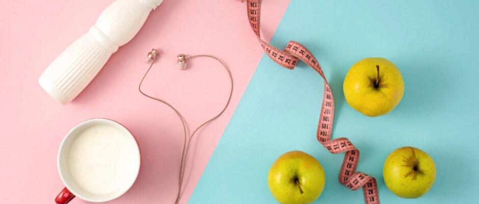 green-apple-bottle-yogurt-with-measure-tape